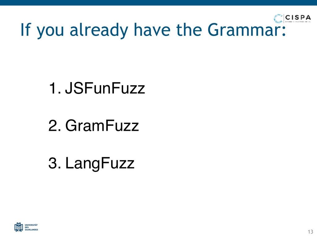 1. JSFunFuzz 2. GramFuzz 3. LangFuzz If you alr...