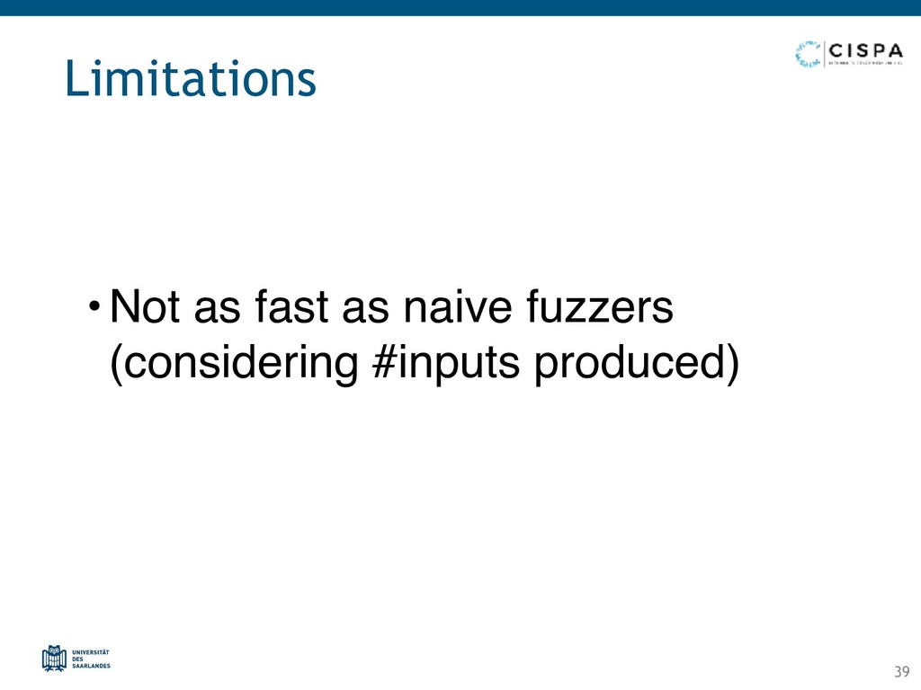 Limitations • Not as fast as naive fuzzers (co...