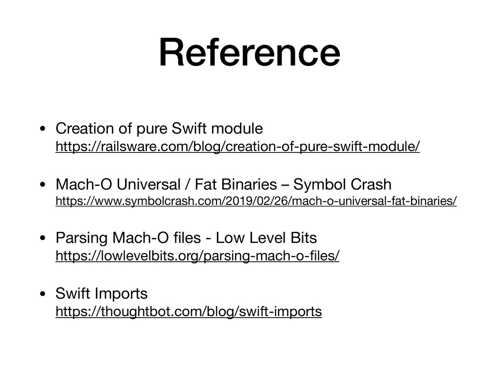 Reference • Creation of pure Swift module