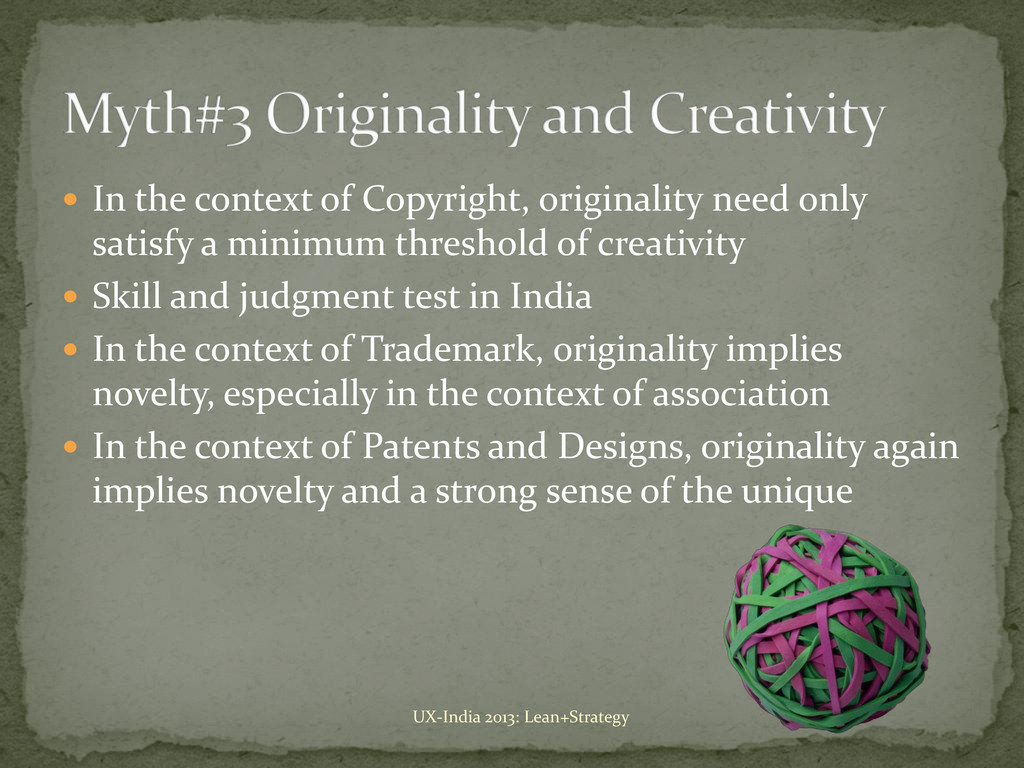  In the context of Copyright, originality need...