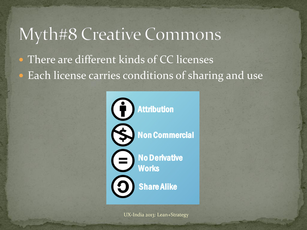  There are different kinds of CC licenses  Ea...