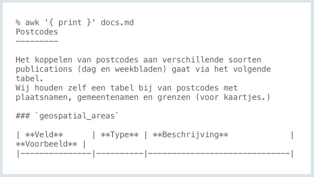 % awk '{ print }' docs.md Postcodes --------- H...