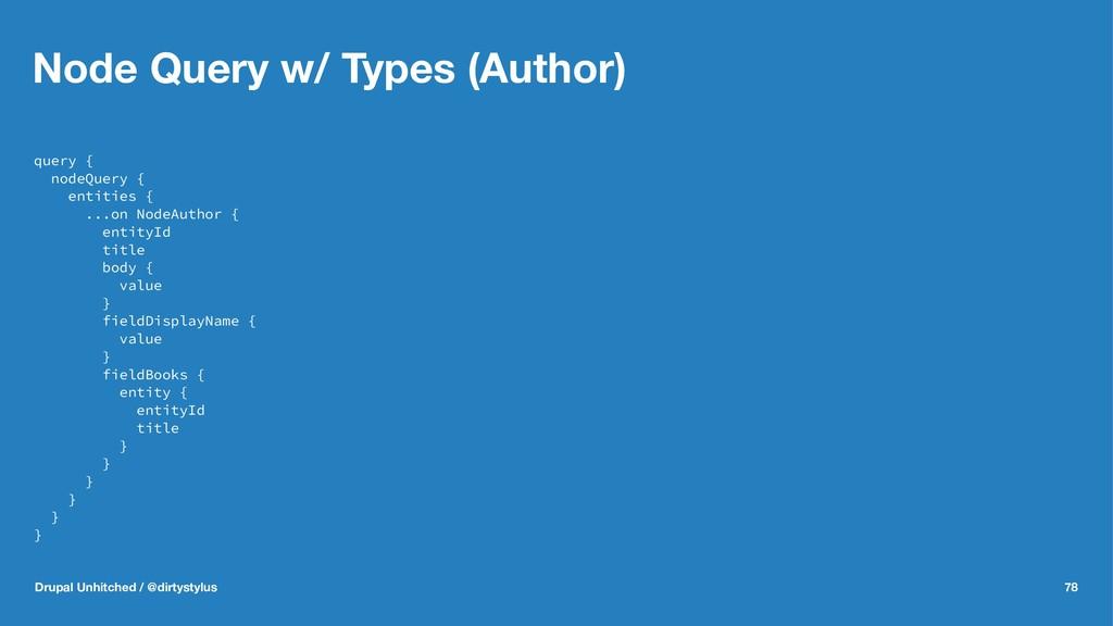 Node Query w/ Types (Author) query { nodeQuery ...