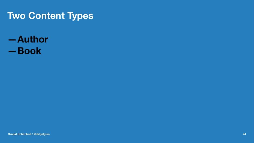 Two Content Types —Author —Book Drupal Unhitche...
