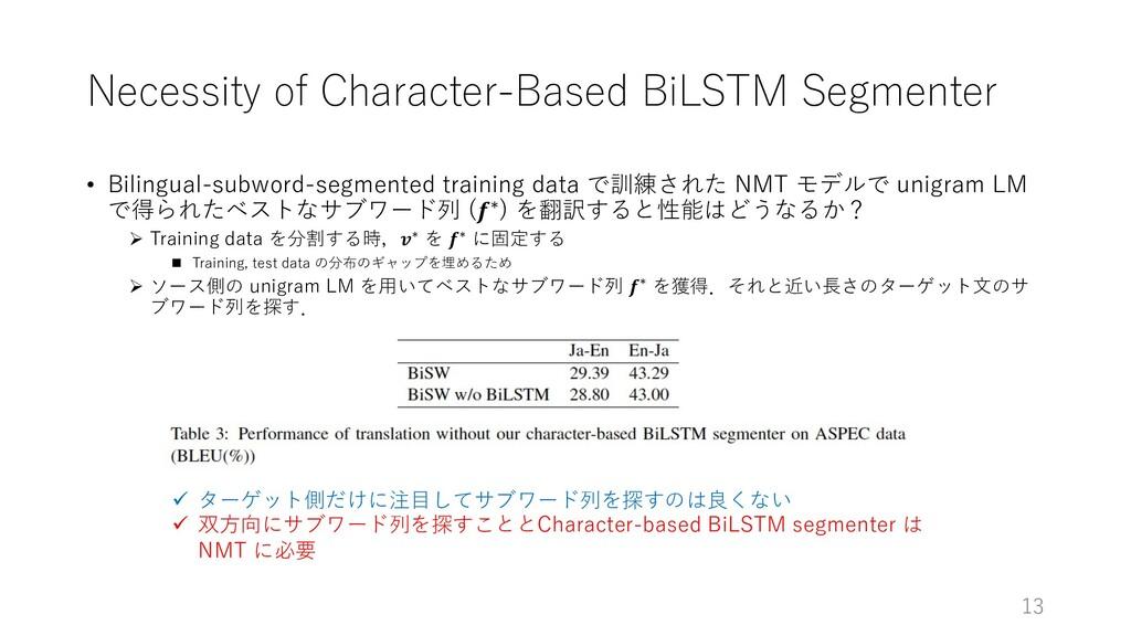 Necessity of Character-Based BiLSTM Segmenter •...