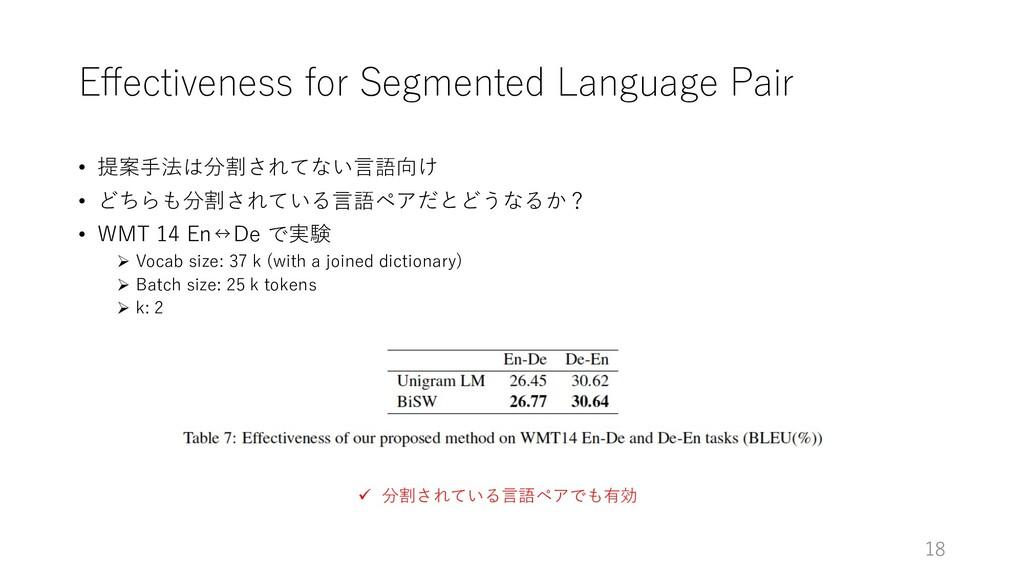 Effectiveness for Segmented Language Pair • 提案⼿法...