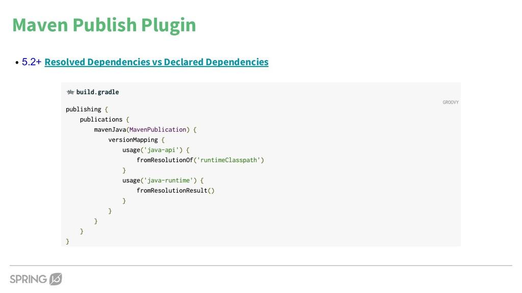 Maven Publish Plugin • 5.2+ Resolved Dependenci...
