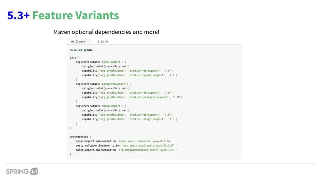 5.3+ Feature Variants Maven optional dependenci...