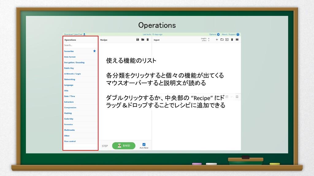Operations 使える機能のリスト 各分類をクリックすると個々の機能が出てくる マウスオ...