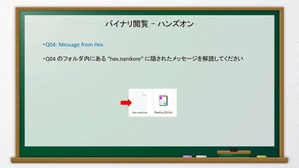 バイナリ閲覧 – ハンズオン ・Q04: Message from Hex ・Q04 のフォル...