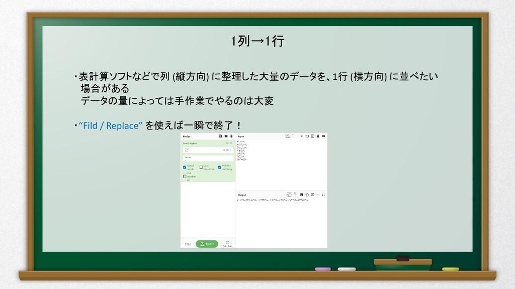 1列→1行 ・表計算ソフトなどで列 (縦方向) に整理した大量のデータを、1行 (横方向) に...