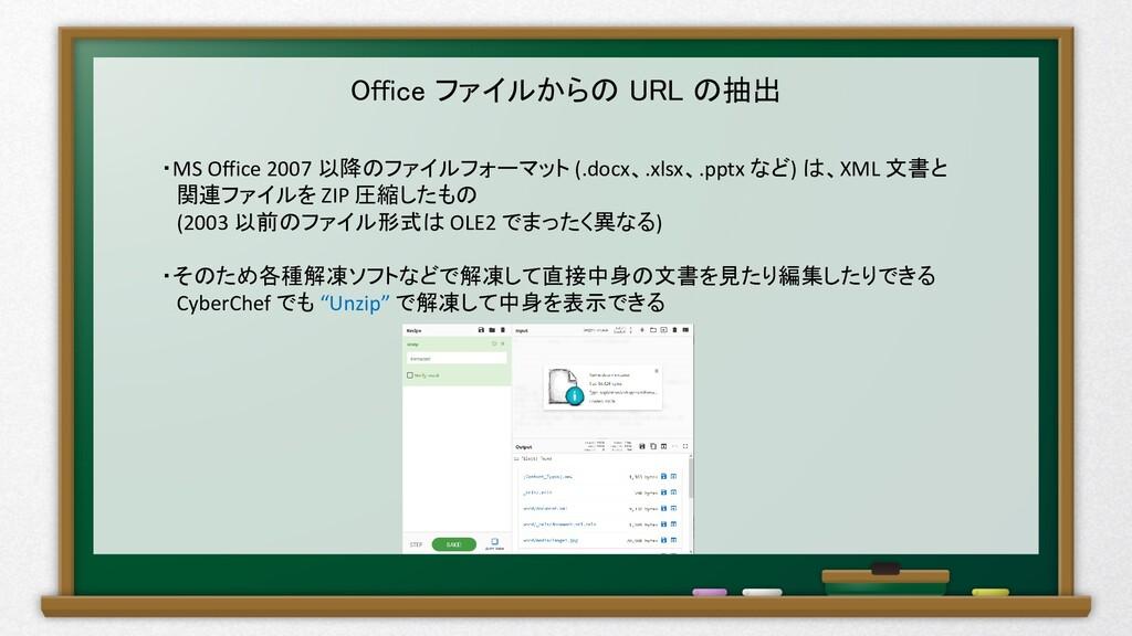 Office ファイルからの URL の抽出 ・MS Office 2007 以降のファイルフ...