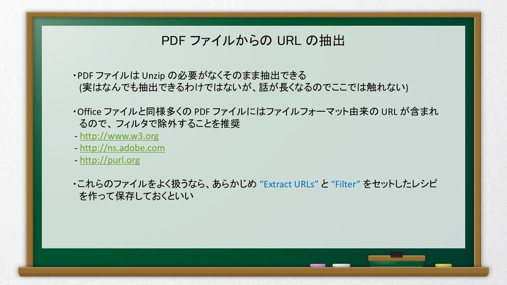 PDF ファイルからの URL の抽出 ・PDF ファイルは Unzip の必要がなくそのまま...