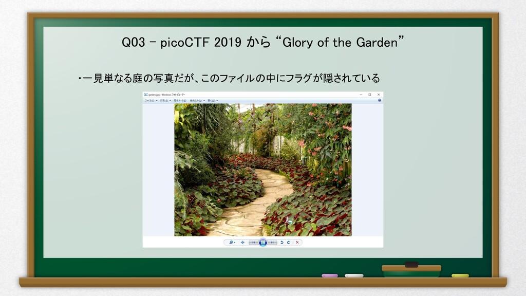 """Q03 – picoCTF 2019 から """"Glory of the Garden"""" ・一見..."""