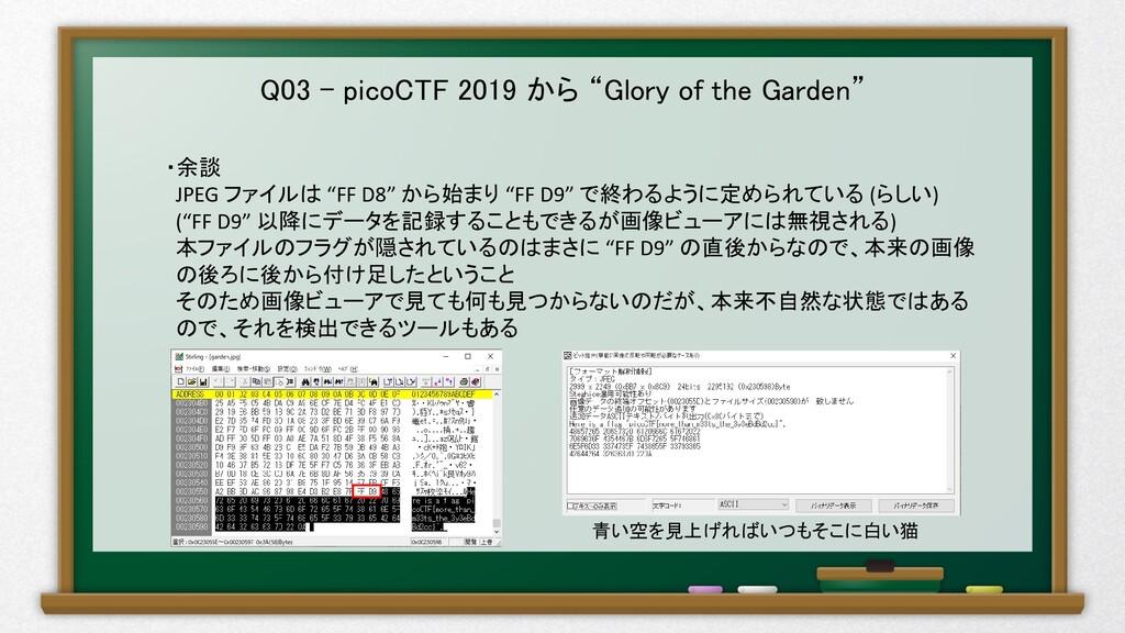 """Q03 – picoCTF 2019 から """"Glory of the Garden"""" ・余談..."""