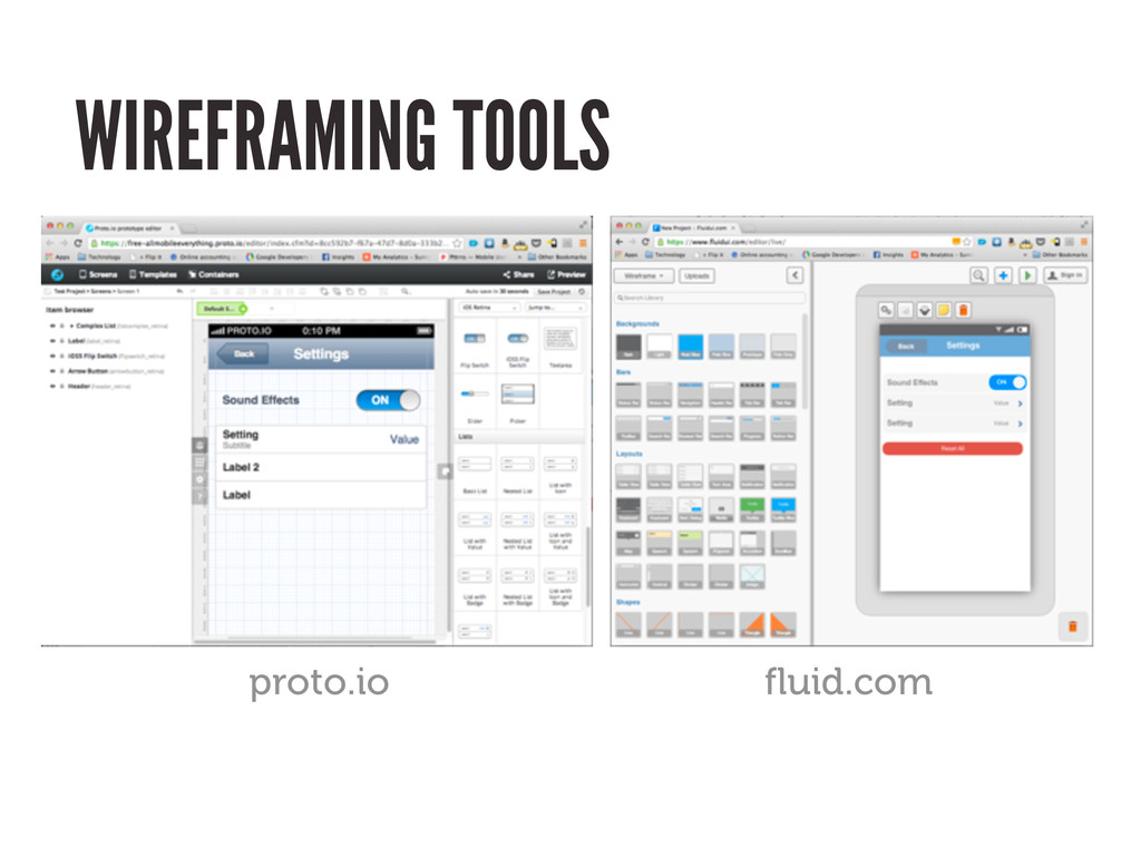 fluid.com proto.io WIREFRAMING TOOLS