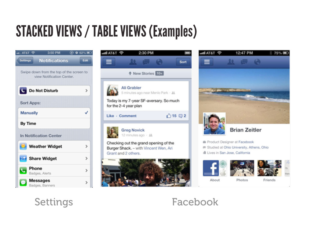 STACKED VIEWS / TABLE VIEWS (Examples) Facebook...