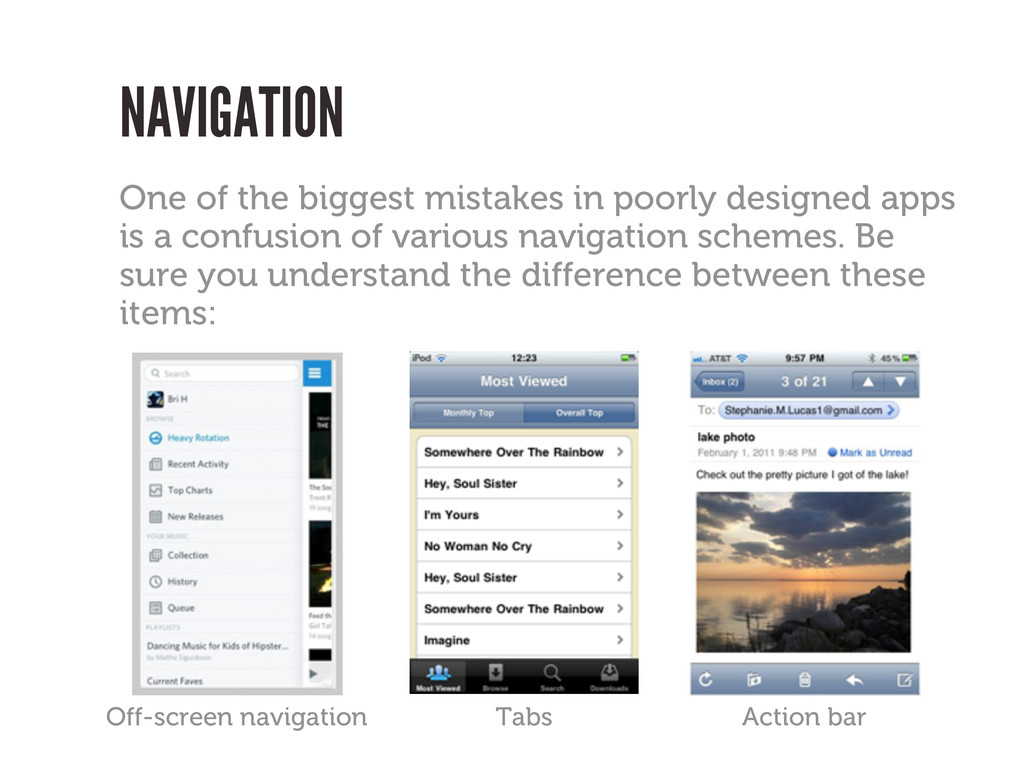 NAVIGATION Off-screen navigation Tabs One of th...