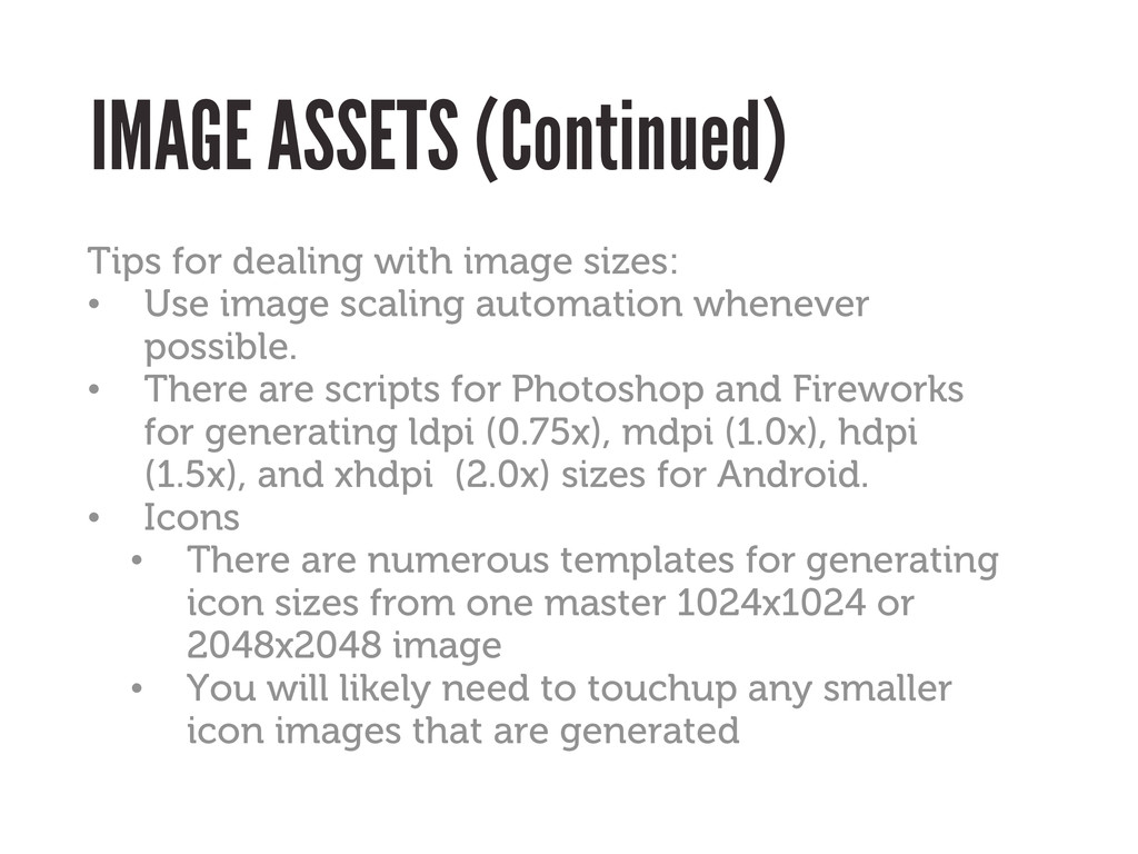 IMAGE ASSETS (Continued) Tips for dealing with ...