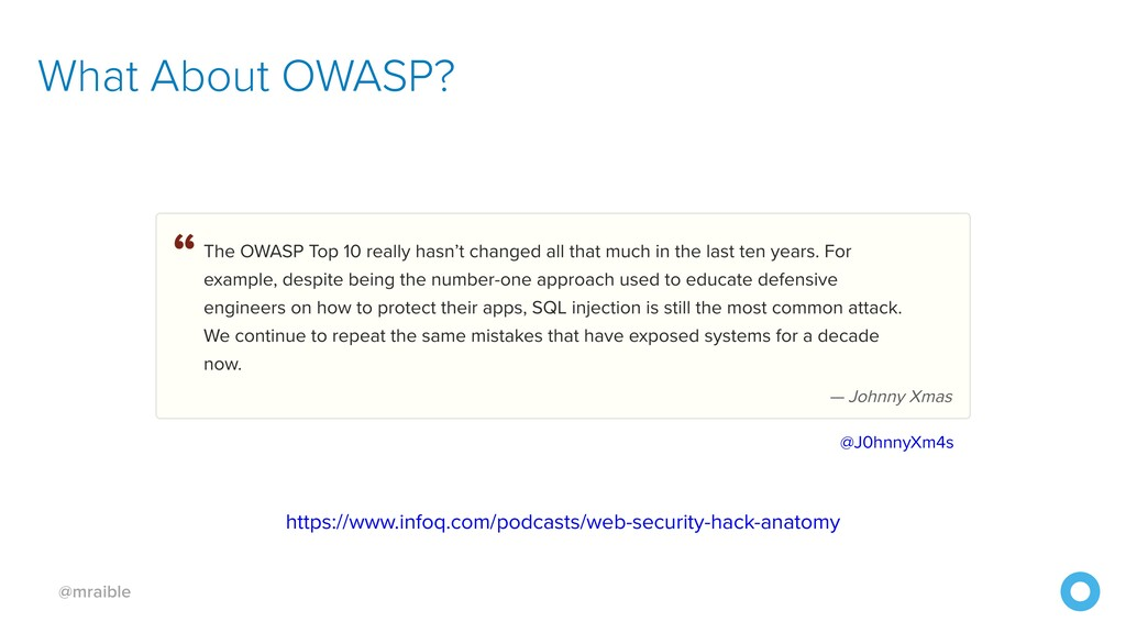 @mraible What About OWASP? https://www.infoq.co...