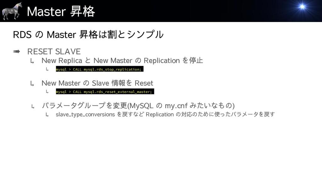 Master 昇格 ➠ RESET SLAVE ↳ New Replica と New Mas...