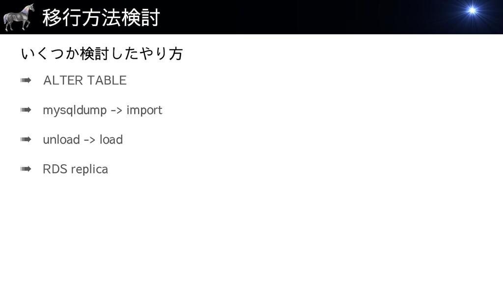 移行方法検討 ➠ ALTER TABLE ➠ mysqldump -> import ➠ un...