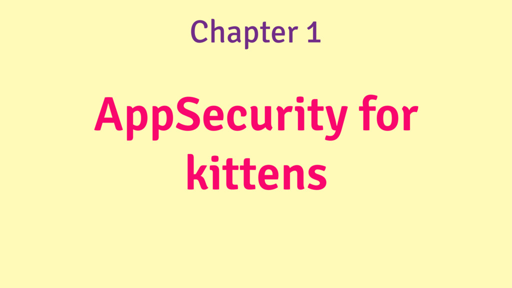 AppSecurity for kittens Chapter 1