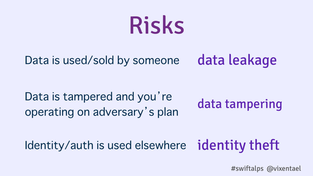 Risks Data is used/sold by someone Data is tamp...