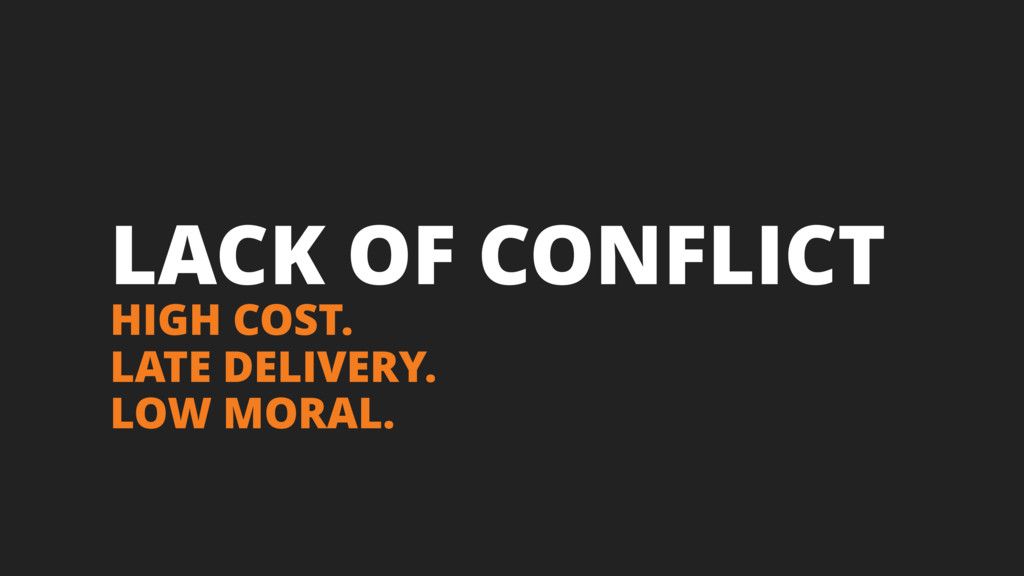 LACK OF CONFLICT HIGH COST. LATE DELIVERY. LOW ...
