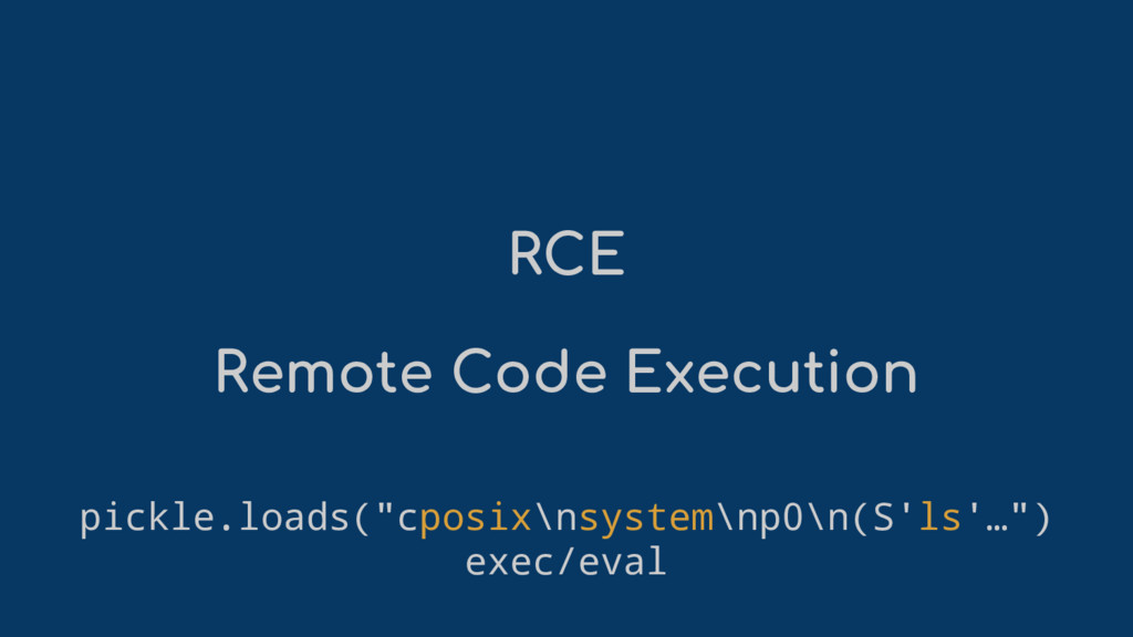 "RCE Remote Code Execution pickle.loads(""cposix\..."