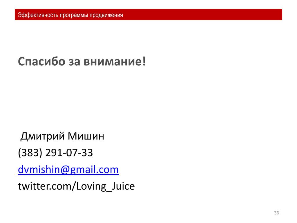 Спасибо за внимание! Дмитрий Мишин (383) 291-07...