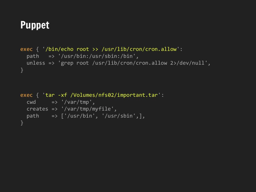 Puppet exec { '/bin/echo root >> /usr/lib/cron/...