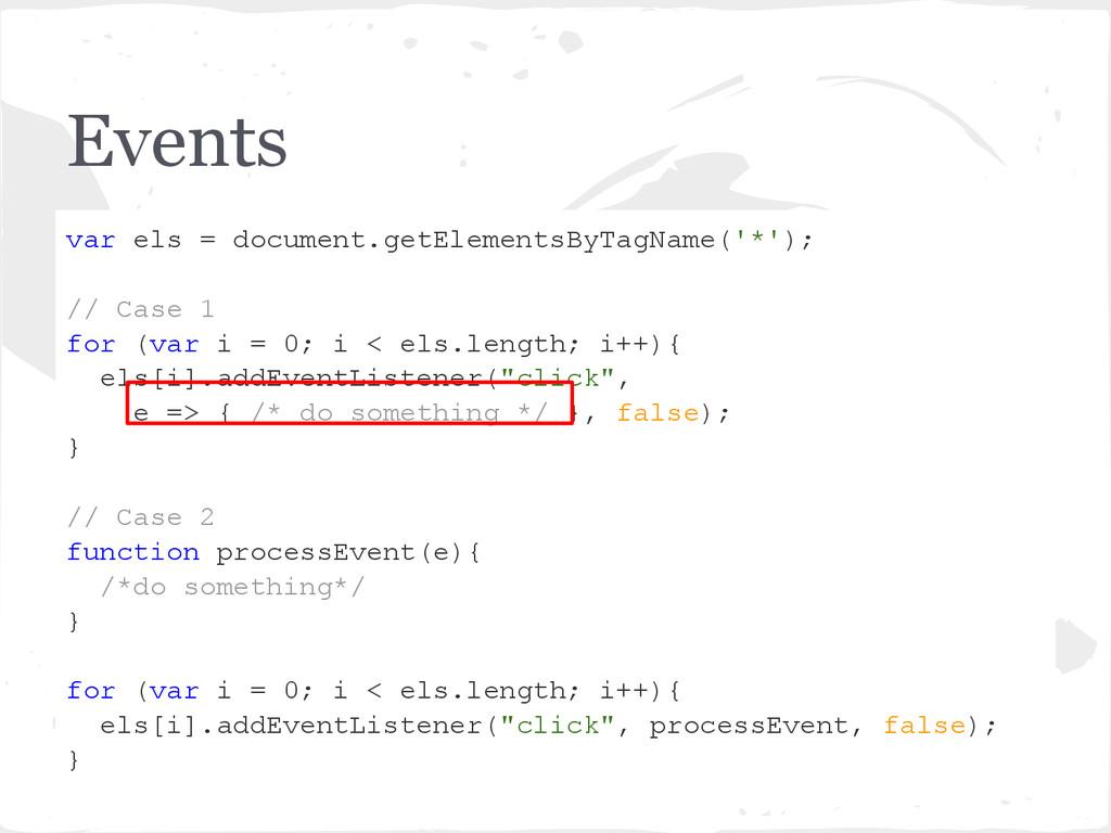 Events var els = document.getElementsByTagName(...