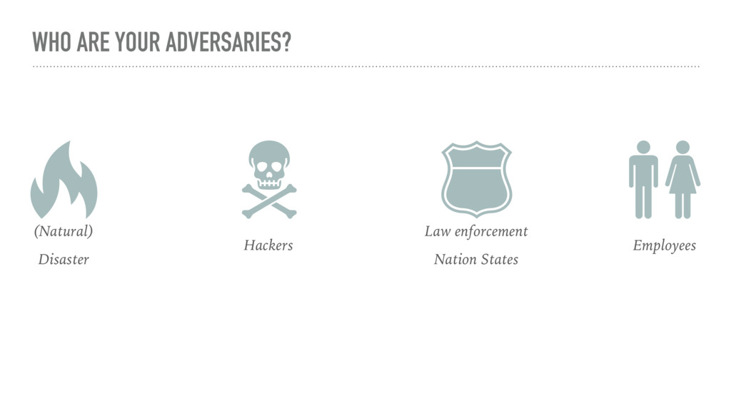 WHO ARE YOUR ADVERSARIES? (Natural) Disaster Ha...