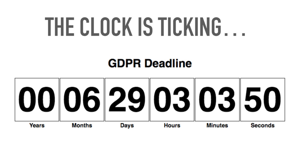 THE CLOCK IS TICKING…