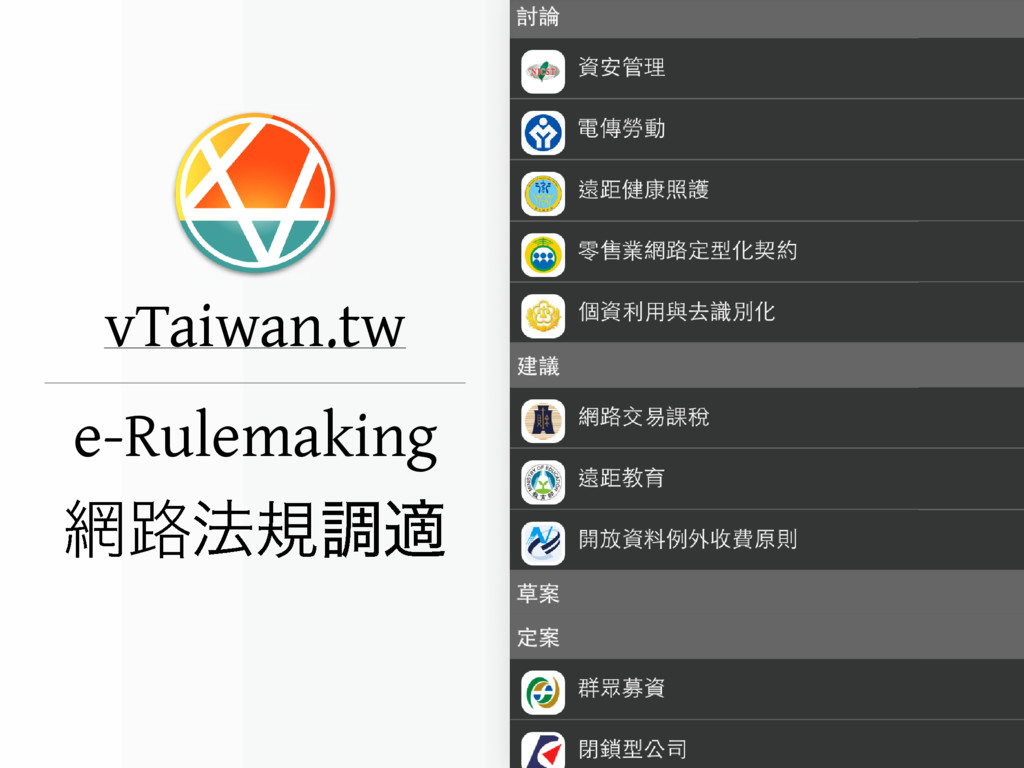 vTaiwan.tw ࿏๏نௐద e-Rulemaking