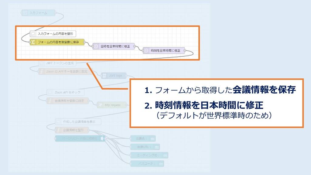 1. フォームから取得した会議情報を保存 2. 時刻情報を日本時間に修正 (デフォルトが世界標...