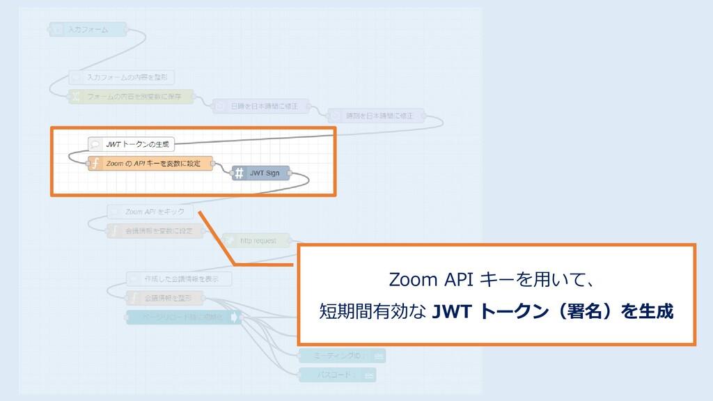 Zoom API キーを用いて、 短期間有効な JWT トークン(署名)を生成
