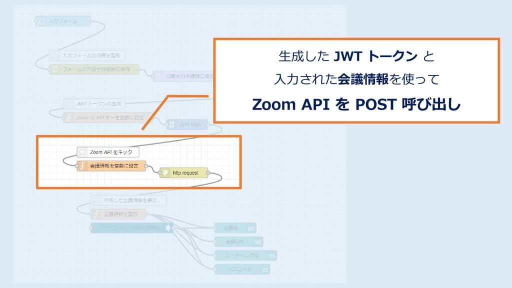生成した JWT トークン と 入力された会議情報を使って Zoom API を POST 呼...