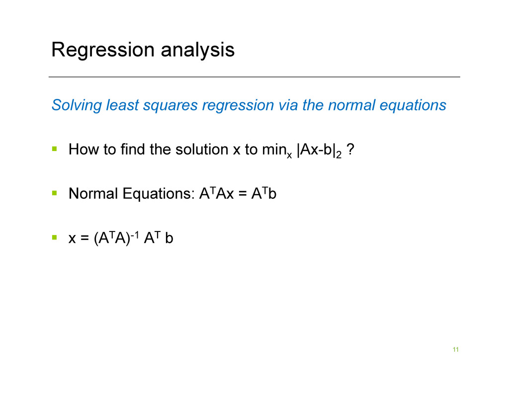 11 Regression analysis Solving least squares re...