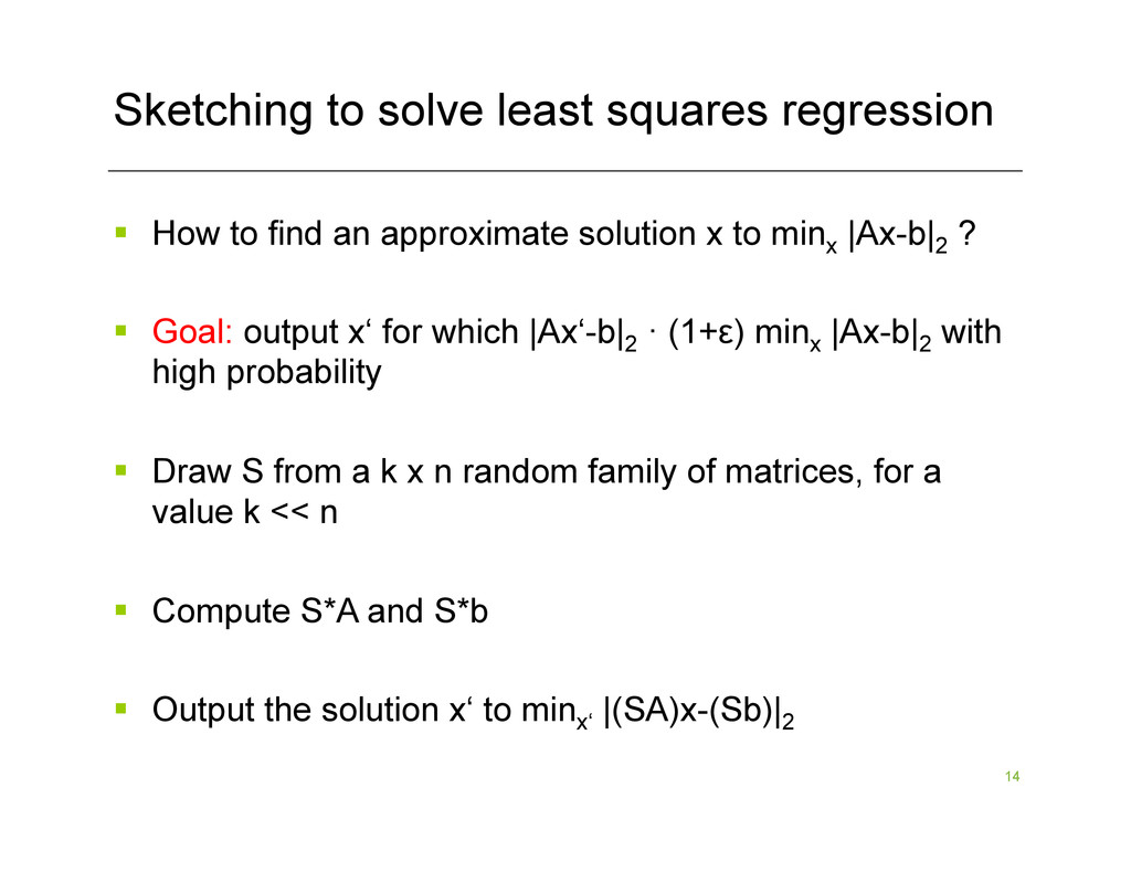 14 Sketching to solve least squares regression ...