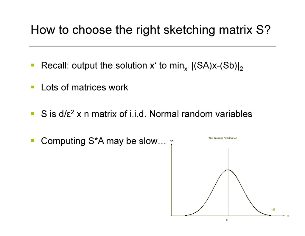 15 How to choose the right sketching matrix S? ...
