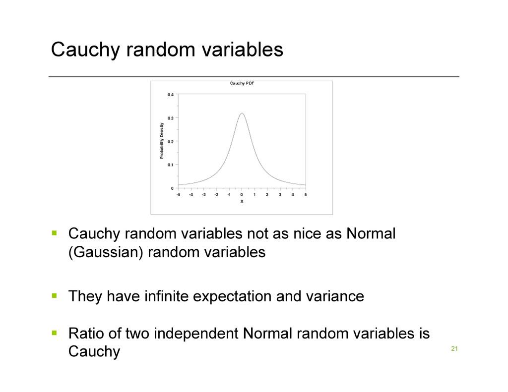 21 Cauchy random variables § Cauchy random va...