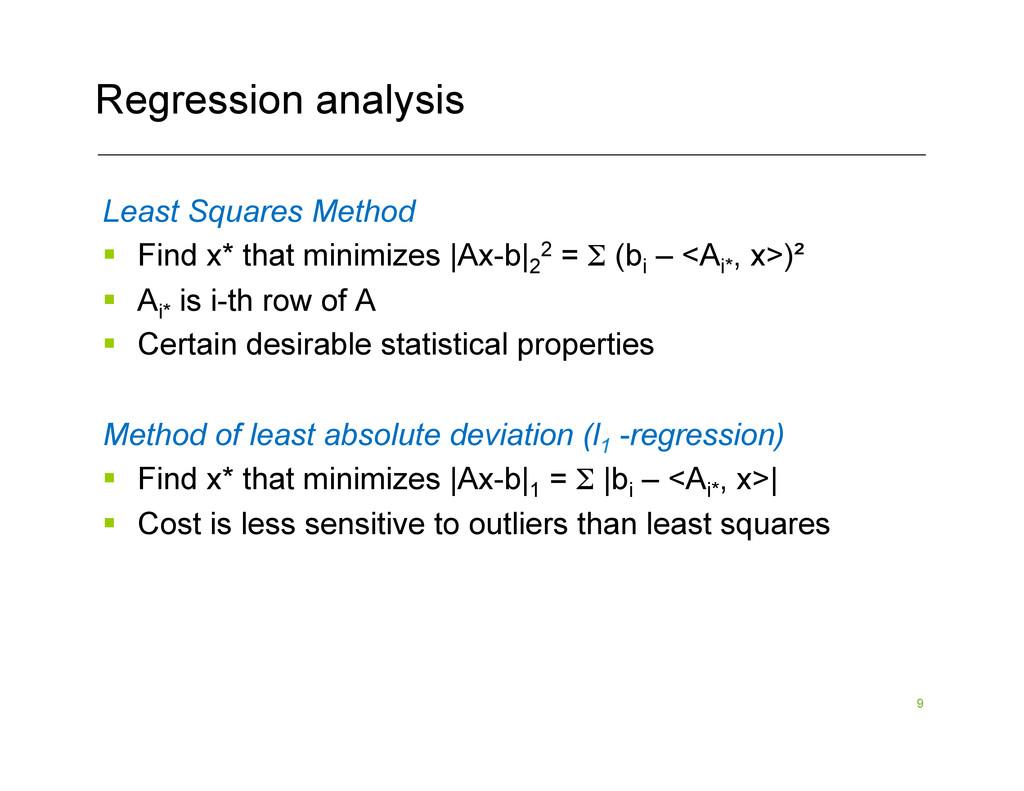 9 Regression analysis Least Squares Method § ...