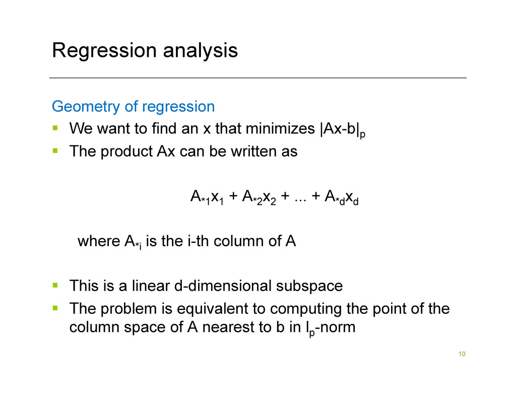 10 Regression analysis Geometry of regression §...