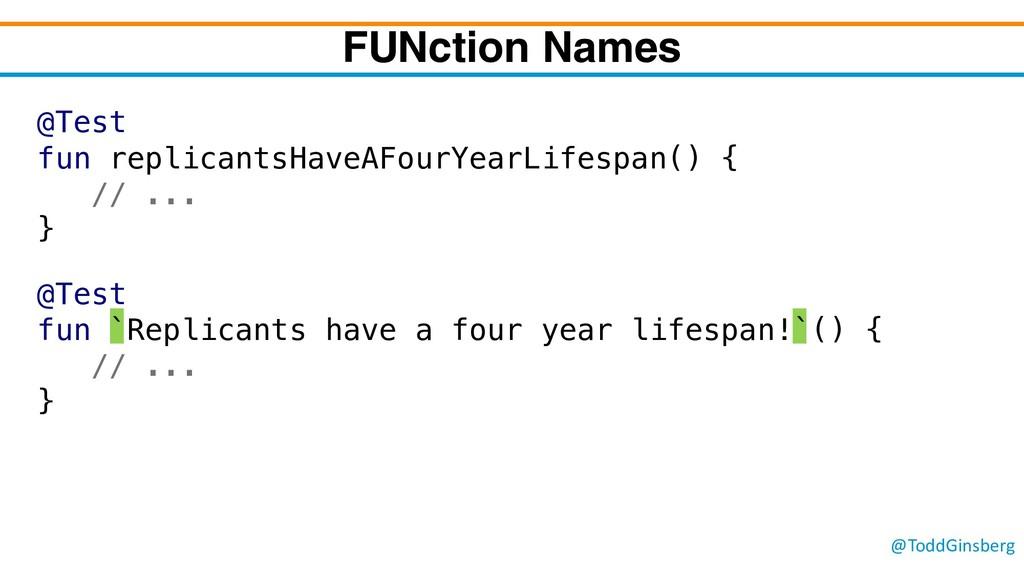 @ToddGinsberg FUNction Names @Test fun `Replica...