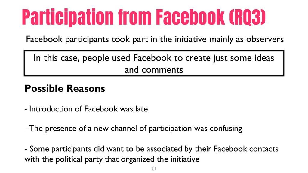 21 Facebook participants took part in the initi...