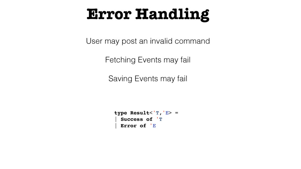 Error Handling User may post an invalid command...