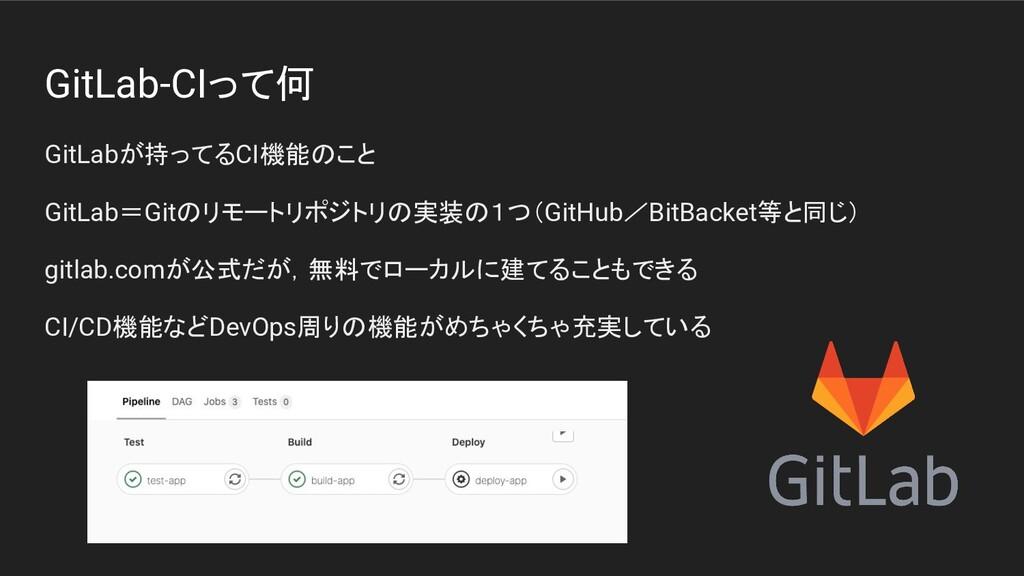 GitLab-CIって何 GitLabが持ってるCI機能のこと GitLab=Gitのリモート...