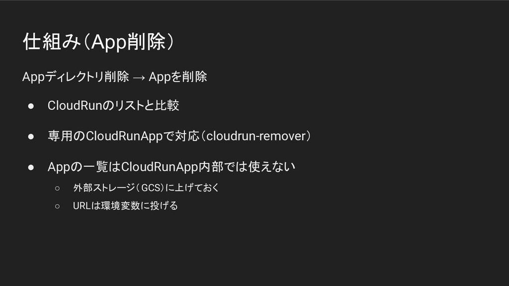 仕組み(App削除) Appディレクトリ削除 → Appを削除 ● CloudRunのリストと...